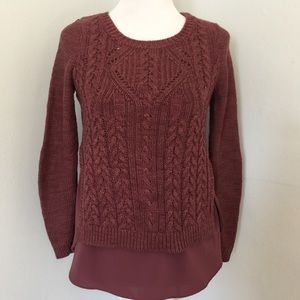 ANTHROPOLOGIE by MOTH Layered Cable Knit Sweater
